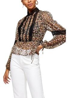 Women's Topshop Lace Inset Floral Top