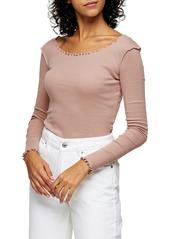Women's Topshop Lettuce Edge Long Sleeve Cotton Top
