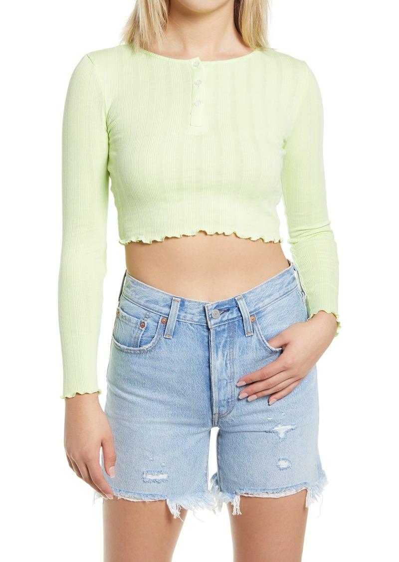 Women's Topshop Long Sleeve Crop Top