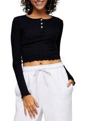 Women's Topshop Long Sleeve Henley Crop Top