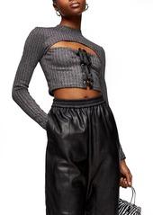 Women's Topshop Metallic Lace-Up Top