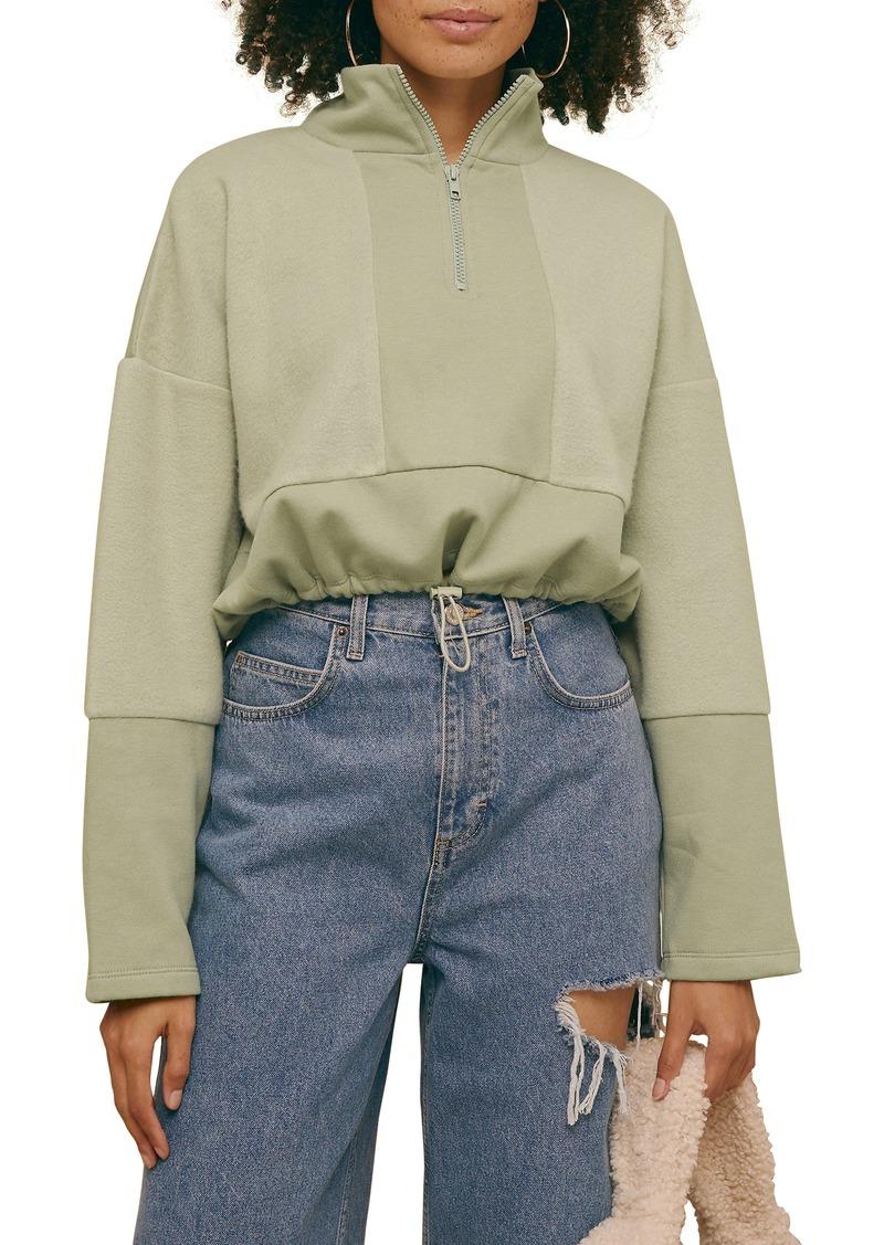 Women's Topshop Panel Half Zip Fleece Pullover
