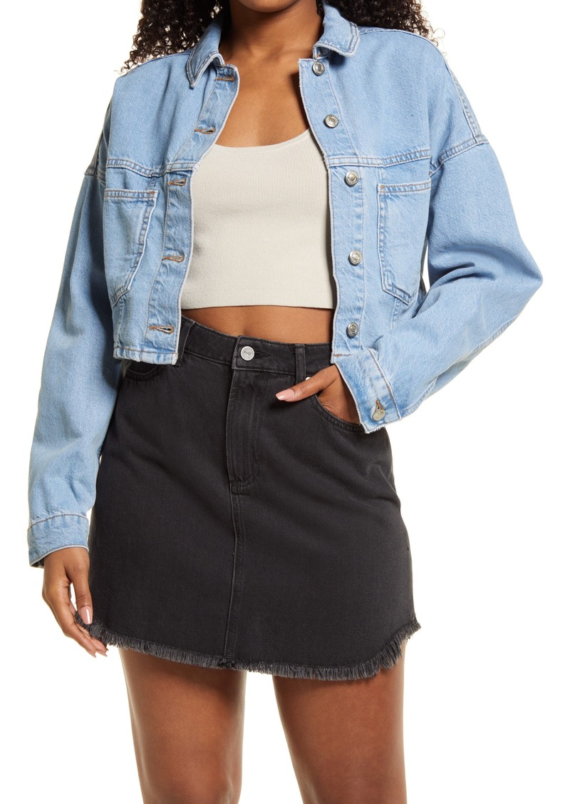 Women's Topshop Puff Sleeve Crop Denim Jacket
