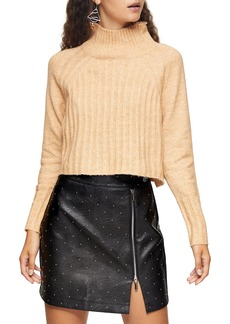 Women's Topshop Rib Crop Turtleneck Sweater
