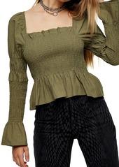 Women's Topshop Shirred Satin Blouse