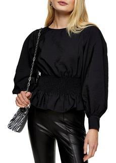 Women's Topshop Shirred Waist Blouse