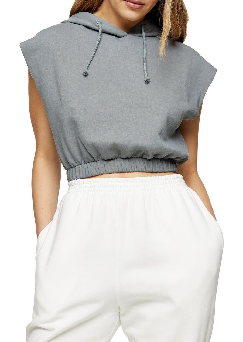 Women's Topshop Sleeveless Crop Hoodie