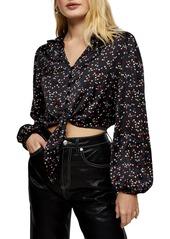 Women's Topshop Star & Heart Print Tie Satin Top