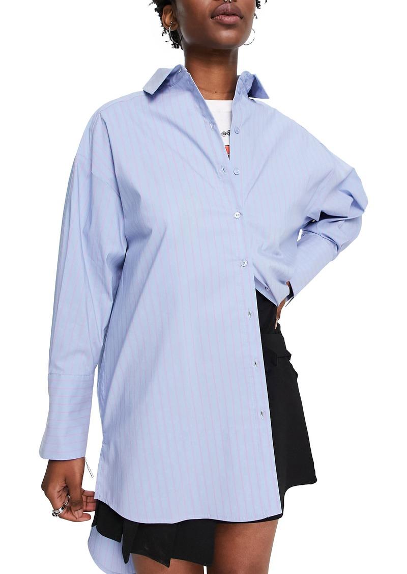 Topshop Stripe Button-Up Cotton Blend Tunic Blouse