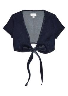Women's Topshop Tie Waist Denim Crop Top