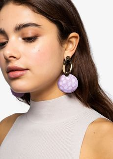 Topshop Wood Disc Drop Earrings