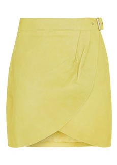 Topshop Wrap Buckle Leather Skirt