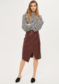 Wrap Midi Pu Pencil Skirt
