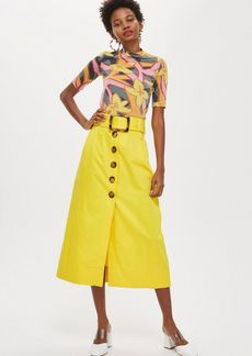 Topshop Yellow Buckle Midi Skirt