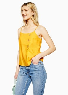 Topshop Yellow Button Wrap Camisole With Linen