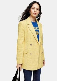 Topshop Yellow Check Double Breasted Blazer