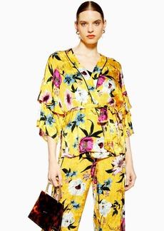 Topshop Yellow Floral Print Kimono