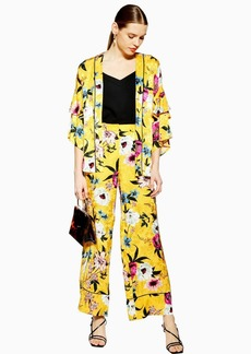 Topshop Yellow Floral Print Wide Leg Trousers