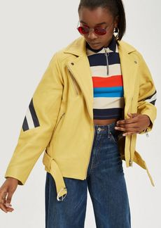 Topshop Yellow Leather Jacket