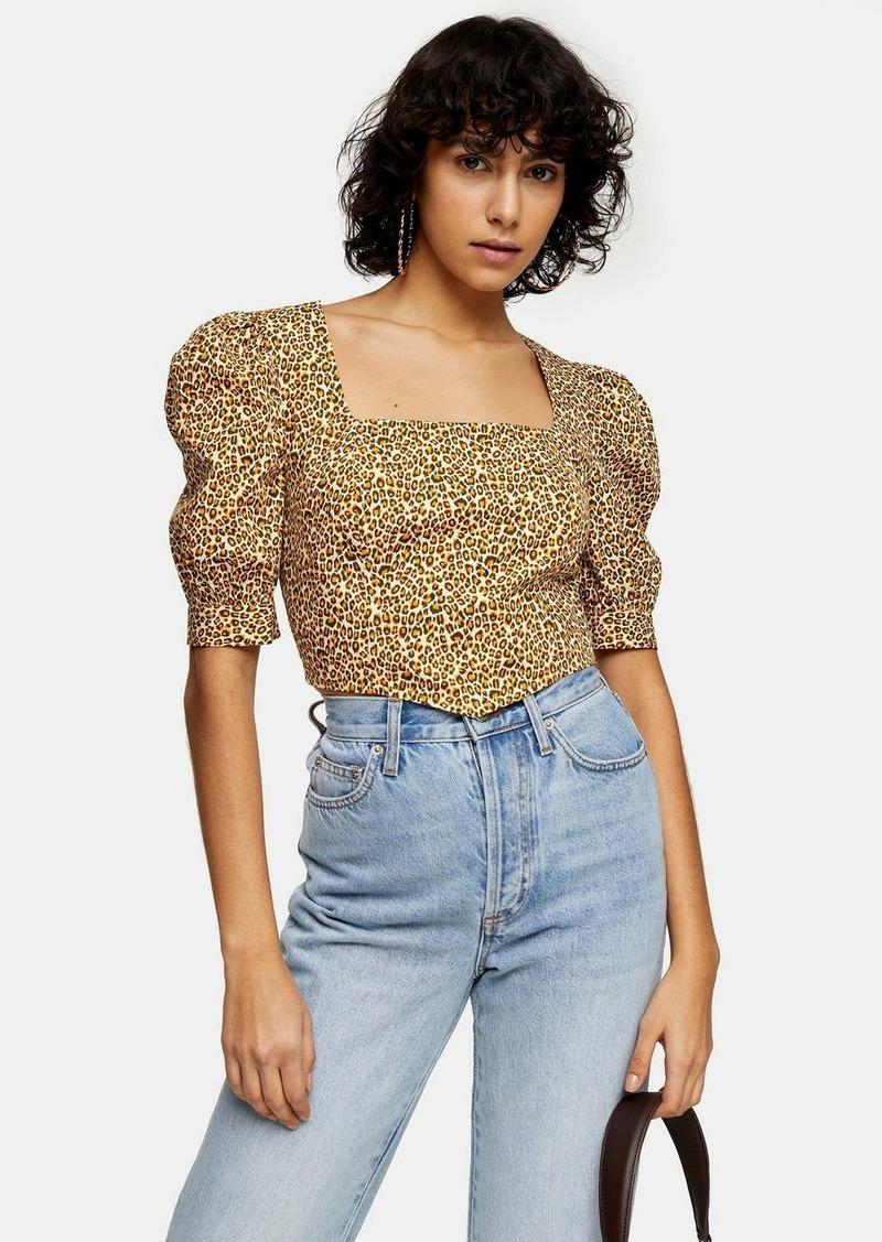 Topshop Yellow Leopard Print Corset Top
