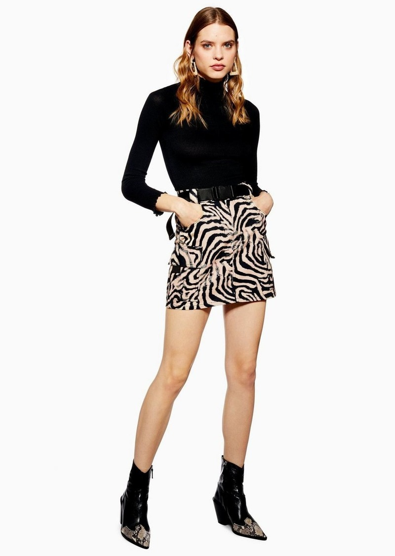 quality design how to find how to buy Zebra Clip Buckle Denim Skirt