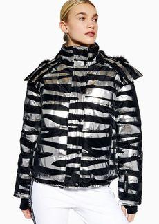 Zebra Foil Print Jacket By Topshop Sno