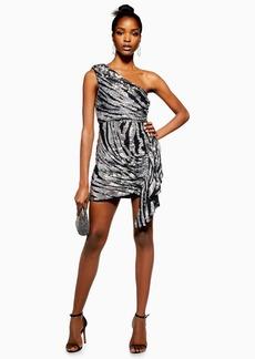 Topshop Zebra Print One Shoulder Embroidered Dress