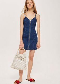 Topshop Zip Denim Dress