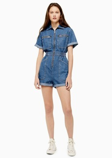 Topshop Zip Denim Playsuit