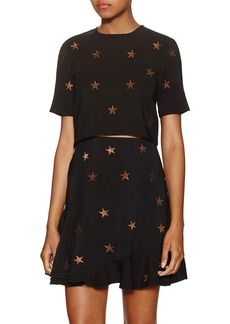 Torn By Ronny Kobo Anniah Embroidered Starry Crop Top