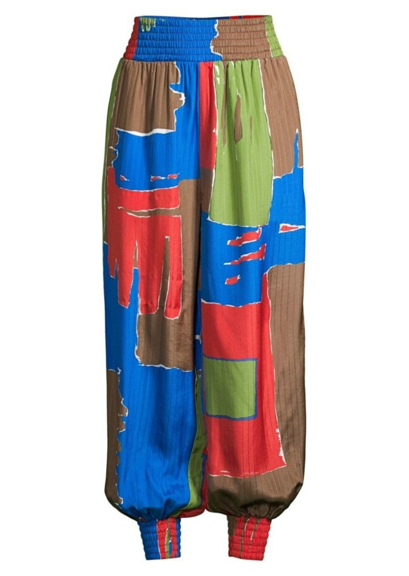 Tory Burch Abstract Silk-Blend Harem Pants