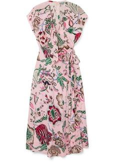 Tory Burch Adelia Ruffled Floral-print Crepe De Chine Wrap Dress