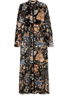 Tory Burch Agnes Embellished Floral-print Crepe Maxi Dress