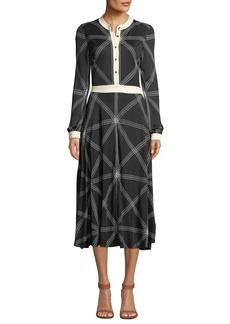Tory Burch Anja Diamond-Stitch Midi Dress