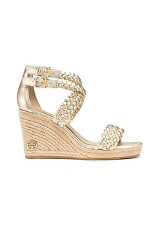 Tory Burch BAILEY METALLIC ANKLE STRAP WEDGE ESPADRILLE