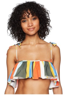 Tory Burch Balloon Stripe Flounce Top