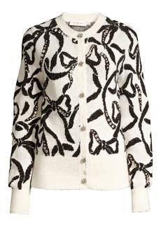 Tory Burch Bejeweled Bow Merino Wool & Alpaca-Blend Cardigan