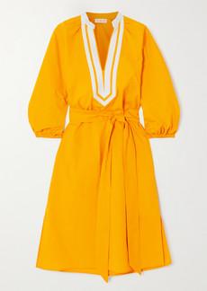 Tory Burch Belted Canvas-trimmed Cotton-poplin Dress