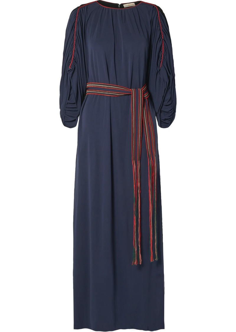 Tory Burch Belted Gathered Jersey Maxi Dress
