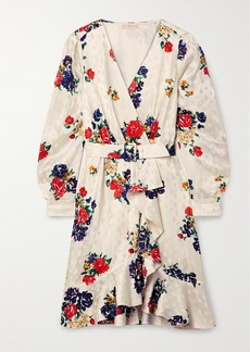 Tory Burch Belted Ruffled Floral-print Silk-satin Jacquard Wrap Dress