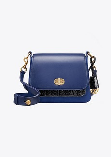 Tory Burch BENNETT MIXED-MATERIALS SMALL SADDLEBAG