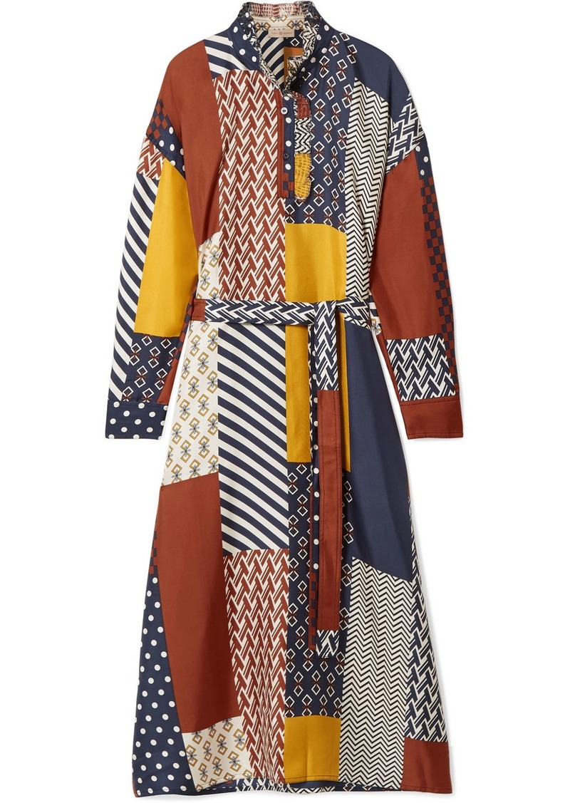 Tory Burch Bianca Patchwork Printed Silk-twill Midi Dress