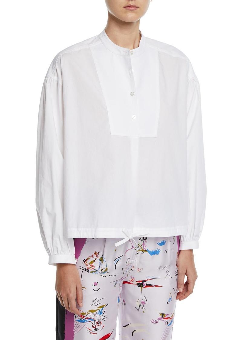 Tory Burch Bib-Front Drawstring-Hem Poplin Shirt