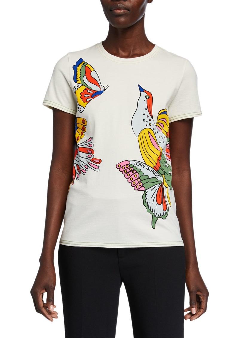 Tory Burch Bird Printed Short-Sleeve T-Shirt