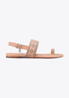 Tory Burch BLAKE METALLIC-STITCH ANKLE-STRAP SANDAL