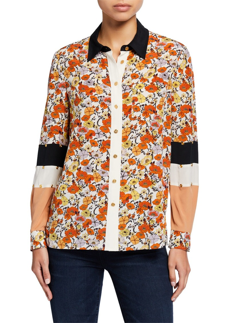 Tory Burch Blossom Ditsy Patchwork Button-Down Silk Shirt w/ Stud Trim