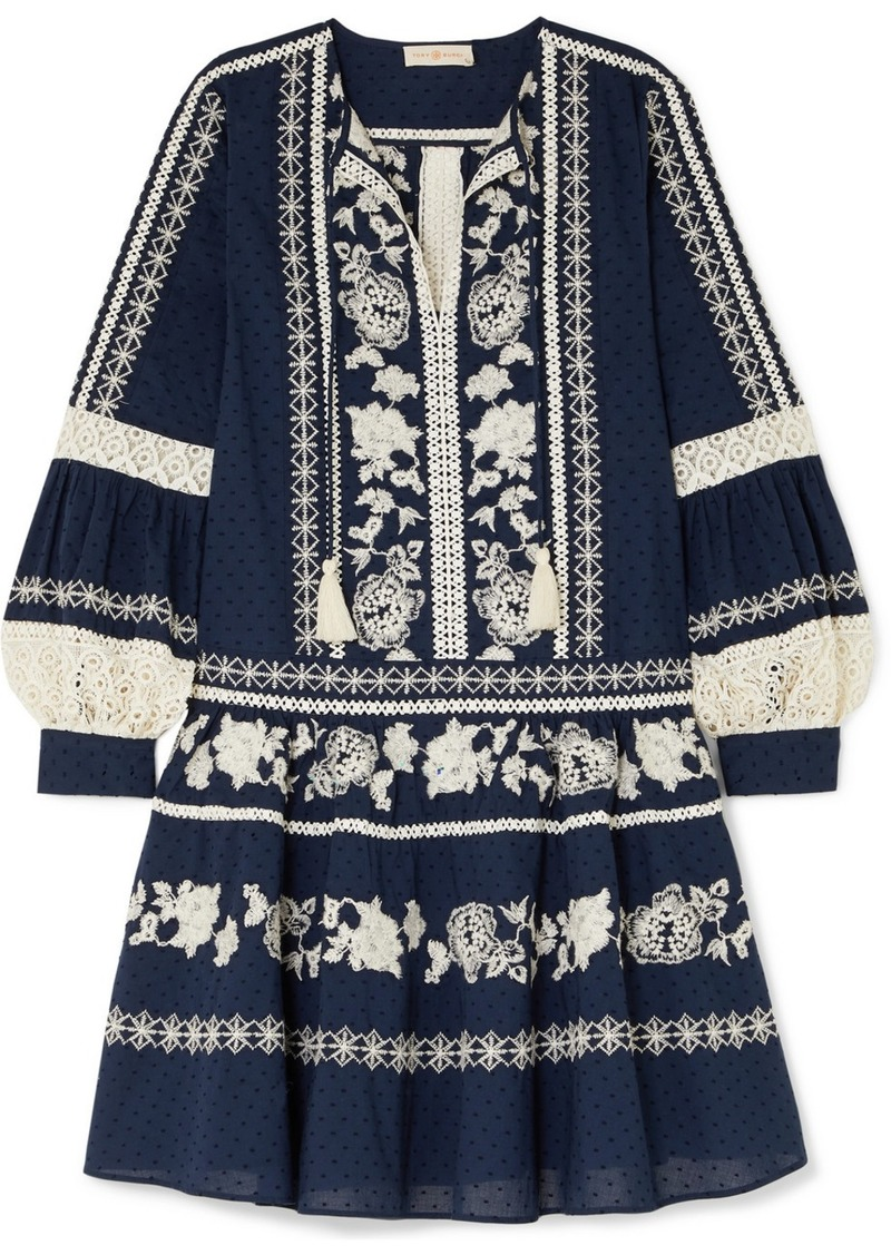 Tory Burch Boho Crochet-trimmed Embroidered Swiss-dot Cotton Mini Dress