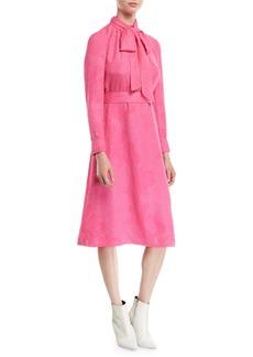 Tory Burch Brielle Tie-Neck Floral Cloque Silk Dress