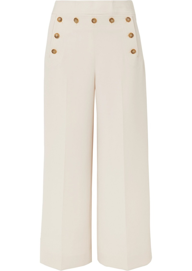 Tory Burch Button-embellished Cropped Crepe Wide-leg Pants