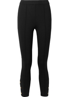 Tory Burch Button-embellished Stretch-ponte Leggings